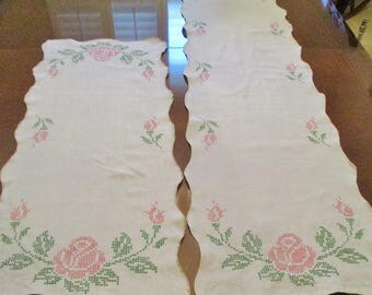 Vintage Hand Cross Stitch Dresser Scarves Or Table Runners, Pink And Green Floral