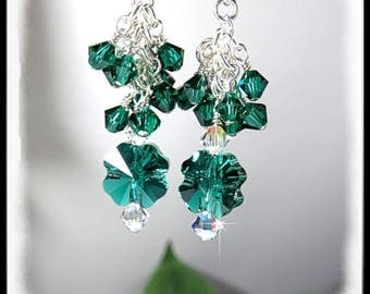 St Patricks Day jewelry, 2105,  Emerald Shamrock Crystal Earrings, Green Earrings, Green Jewelry,  Crystal Jewelry, Dangle Earrings