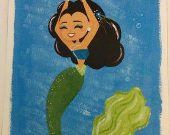 Ocean mermaid print