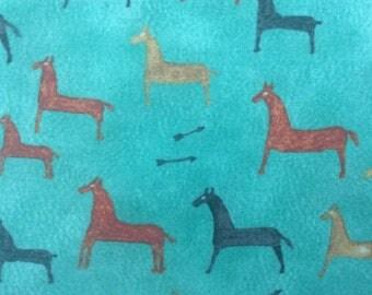 Turquoise Horses Fabric