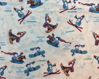 Ski Board Fun Fabric White