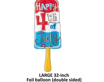 4th of July popsicle balloon, Independence Day decorations, patriotic Americana, red white and blue, helium balloons, popsicles, childrens