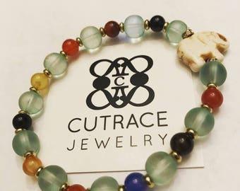 Multicolor agathas and turquoise elephant pendant meditation yoga bracelet