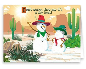 Dry Heat Western Snowman Funny Christmas Card - 18 Holiday Cards - 40012