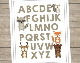 Woodland Animals Alphabet Digital Print ~ Instant Download ~ ABC's ~ Nursery Decor ~ Baby Room ~ Woodland Fox Bear Deer ~ Boys