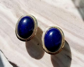 Vintage Lapis 14k yellow gold earrings with omega backs, omega back vintage Lapis earrings.