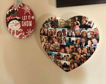 Wooden Heart Photo Collage
