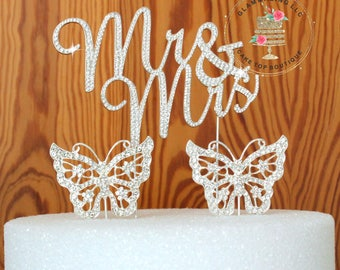 Crystal rhinestone  wedding Cake Topper Mr & Mrs  Anniversary Wedding + Butterfly cake picks cake jewelry party decoration