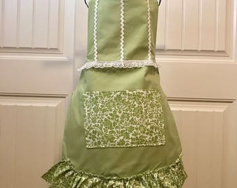 Light Green Floral Apron