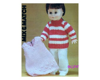 """Doll Clothes Knitting Pattern Doll Dress Pants and Sweater For 16""""- 17"""" Doll Digital Knitting Pattern Instant Download"""