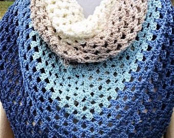 crochet cotton triangle wrap, ladies shawl for spring and summer, gift for Mother's Day, vacation lightweight accessories,  Ready to Ship
