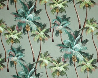 Fabric Tropical Palm Trees on Native Green Aloe, Cotton Twill Barkcloth Outdoor Leaf Nature Upholstery Sewing Craft