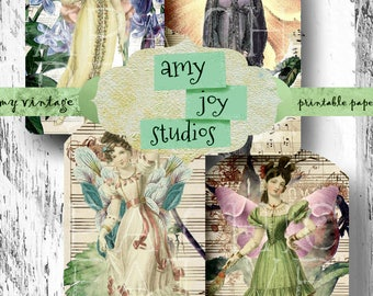 Journal Printables Shabby Chic  Fairy Wings  Journaling Cards  victorian floral clipart  Jane Austen printable  Bookmark Gift  Digital