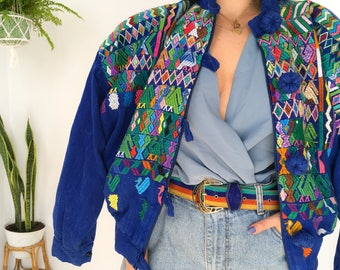 Vintage Embroidery colorful bomber jacket