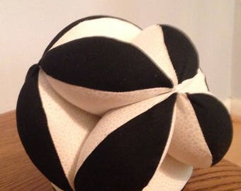 "White and Black Soccer Ball. 9"" Montessori Puzzle Ball Colorful Geometric Clutch Ball. Sensory Learning Toy. Soft and Safe Play"