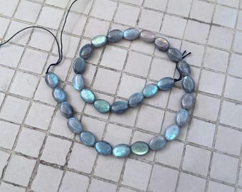 Full Strand Natural Labradorite Flashy Flat Oval Beads