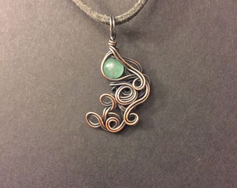 Jadeite Copper Wrapped Pendant Necklace