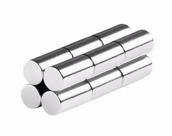 1/4 x 1/2 Inch (6.35 x 12.7 mm) Neodymium Rare Earth Cylinder/Rod Magnets N48 (12 Pack)