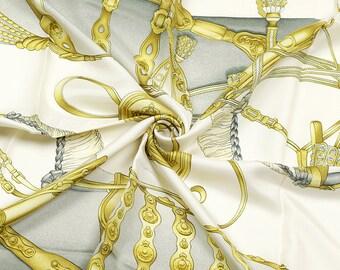 """HERMES SCARF Silk """"Harnais de Cour"""" by Philippe Ledoux 90cm Carre 100% Auth"""