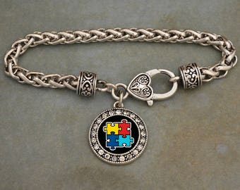 Autism Awareness Rhinestone Circle Charm Bracelet