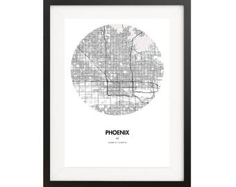 Phoenix Map Poster - 18 by 24 inch Map Print