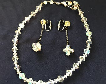 Crystal Clear - Necklace and clip on earrings set - vintage jewelry - 15 inch necklace