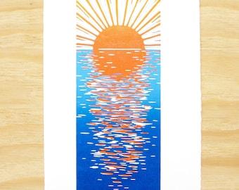 "Woodblock Print - ""Calm Waters"" - Sunset Art - Tall and Narrow - Art Printmaking - Blue and Orange - Beach Art"