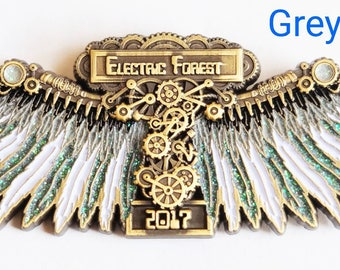 """Electric Forest """"Clockwork Wings"""" Hat Pin (Fire, Ice, Nuclear, Space, Gray)"""
