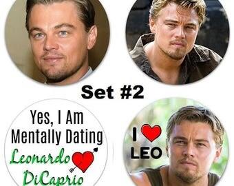 """Leonardo DiCaprio Set Of 4 Large 2.25"""" Pinback Buttons or Magnets - Choose Your Favorite Set"""