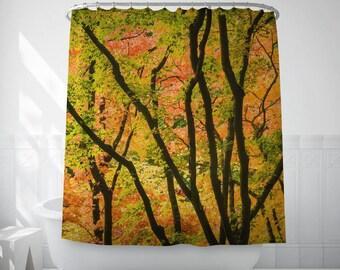 Yellow Forest Art, Tree Shower Curtain, Autumn Bath Art, Photo Shower Curtain, Brown Shower Curtain, Decorative Shower Curtains