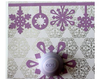 Snowflakes Card • EOS Lip Balm Holder • Stocking Stuffer • Winter Card • Paper Snowflakes • Coworker Gift • Gifts for Her • Gifts Under 20