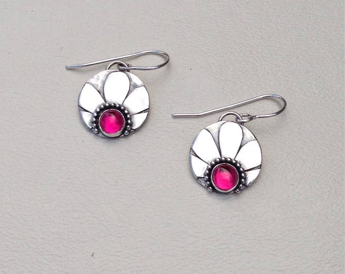 Flower earrings with lab grown ruby stone each handmade silversmith silver dangle earrings