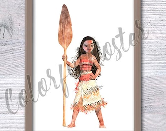 Disney princess Moana print Moana watercolor poster South Pacific princess Moana decor Girls room wall art Nursery wall decor Gift idea V198