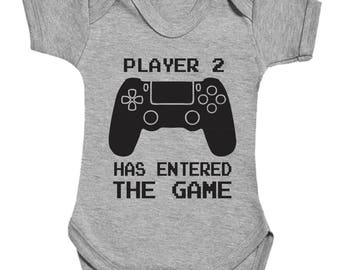 Player 2 has entered the game with controller cute funny babygrow bodysuit