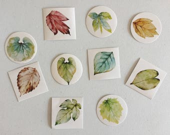 Leaf Plants Seal Stickers, Leaves Stickers, Gift Wrapping, Scrapbooking Sticker, Envelope Seals, Happy Post And Mail