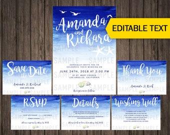 Beach Wedding Invitation Template Set With RSVP Beach Wedding Invitations In Coral Kit Download Aqua Wedding Invite Suite Editable Templates
