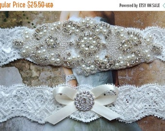 ON SALE Wedding Garter Set,  Lace Garter, Rhinestone Crystal Bridal Garter, Vanessa Style 10721