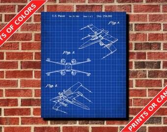 X-Wing Patent Print Star Wars Print X-Wing Blueprint Wall Art Star Wars Poster