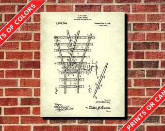 Railway Switch Patent Print, Vintage Railway Poster Wall Art, Railroad Switch Blueprint, Trains Decor