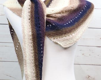 Striped lightweight wool asymmetrical triangle scarf, long and narrow scarf, brown, beige, tan, navy blue, plum openwork wrap,