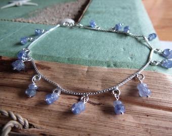 Tanzanite bracelet, sterling silver charm bracelet, birthstone bracelet, December birthstone,