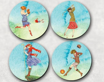 Coasters, Sports Coaster, Vintage Coaster, Ladies, Women, Drink Coasters, Sports, Boxing, Golf, Soccer, Hiking, Tennis (0005)