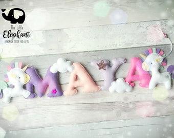 Unicorn nursery decoration, Unicorn Name Garland, unicorn felt banner, unicorn decor, personalised banner, perfect gift for a girl.