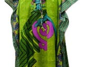 Plus Size Summer Paisley African Lady Print Drawstring Batwing Sleeve Kaftan Green