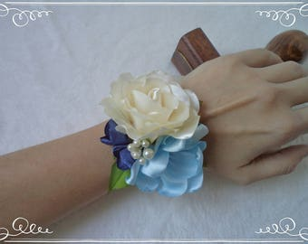 Clarissa Wrist Corsage - blue-colored wedding fabric flower with rose and fantasy flowers, FREE SHIPPING