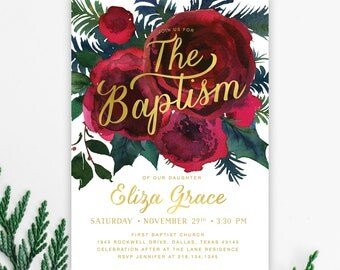 Girl Baptism Invitation, Baptism Invite for Girl, Christmas Baptism Invitation, Holiday Baptism, Winter Baptism Invite, Burgundy- Holiday 33