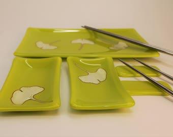 Ginkgo Leaf Fused Glass Sushi Set, Japanese Dinnerware, Silver Foil Sushi Set, Fused Glass Platter Set, Lemongrass Glass Platter Set