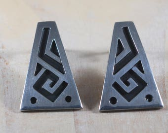 Vintage Taxco Mexico Modernist Abstract Geometric Design Earrings Sterling Silver 925