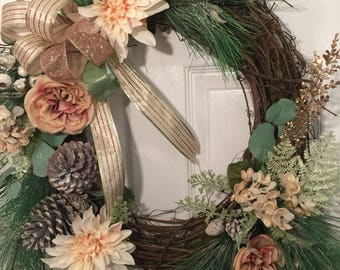 Winter Wreath for Front Door, Front Door Winter Wreath, French Country Wreath, Victorian Wreath, Farmhouse Decor