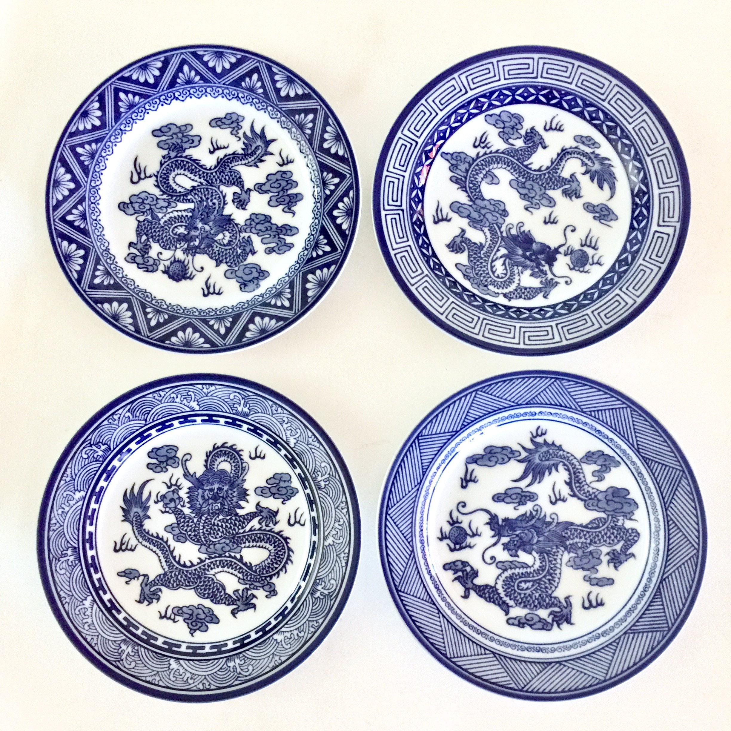 Dragon Plates Bombay China Company Blue and White Dessert Plates Set of 4 Chinese Dragons Asian  sc 1 st  shopping for fashion trends Womens Mens and Kids Athletic Shoes ... & Dragon Plates Bombay China Company Blue and White Dessert Plates Set ...